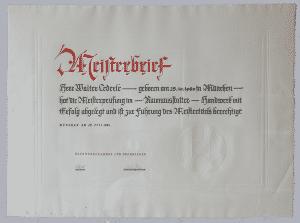 Firmengeschichte - Raumausstattung Lederle München - Meisterbrief Walter Lederle